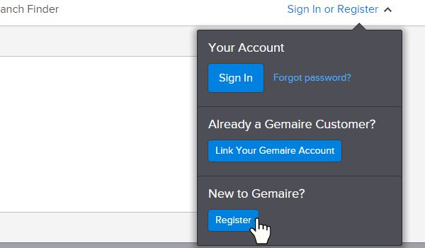 New Account Registration Step 1