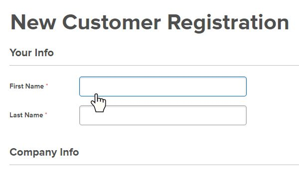 New Account Registration Step 2