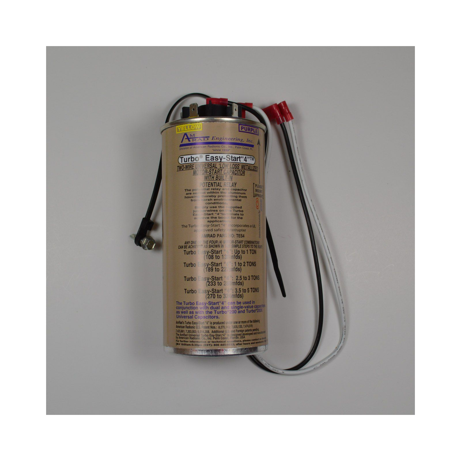 Amrad TES4 - Universal Hard-Start Capacitor, 2-Wire, 370/440V, Up to ...