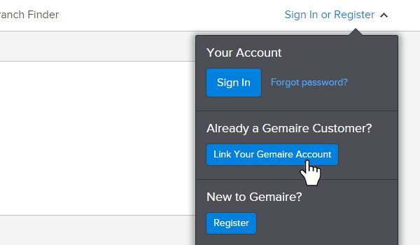 Link Your Existing Gemaire Account Step 1