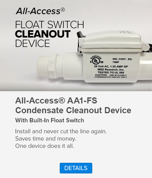 Float Switch Cleanout Device