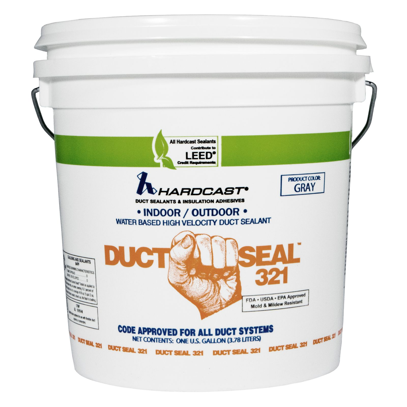 HARDCAST 304156 #DS321-4 DUCT SEALER 1 GAL PAIL - GRAY COLOR, NO FIBERS (S1-304156) MC297946