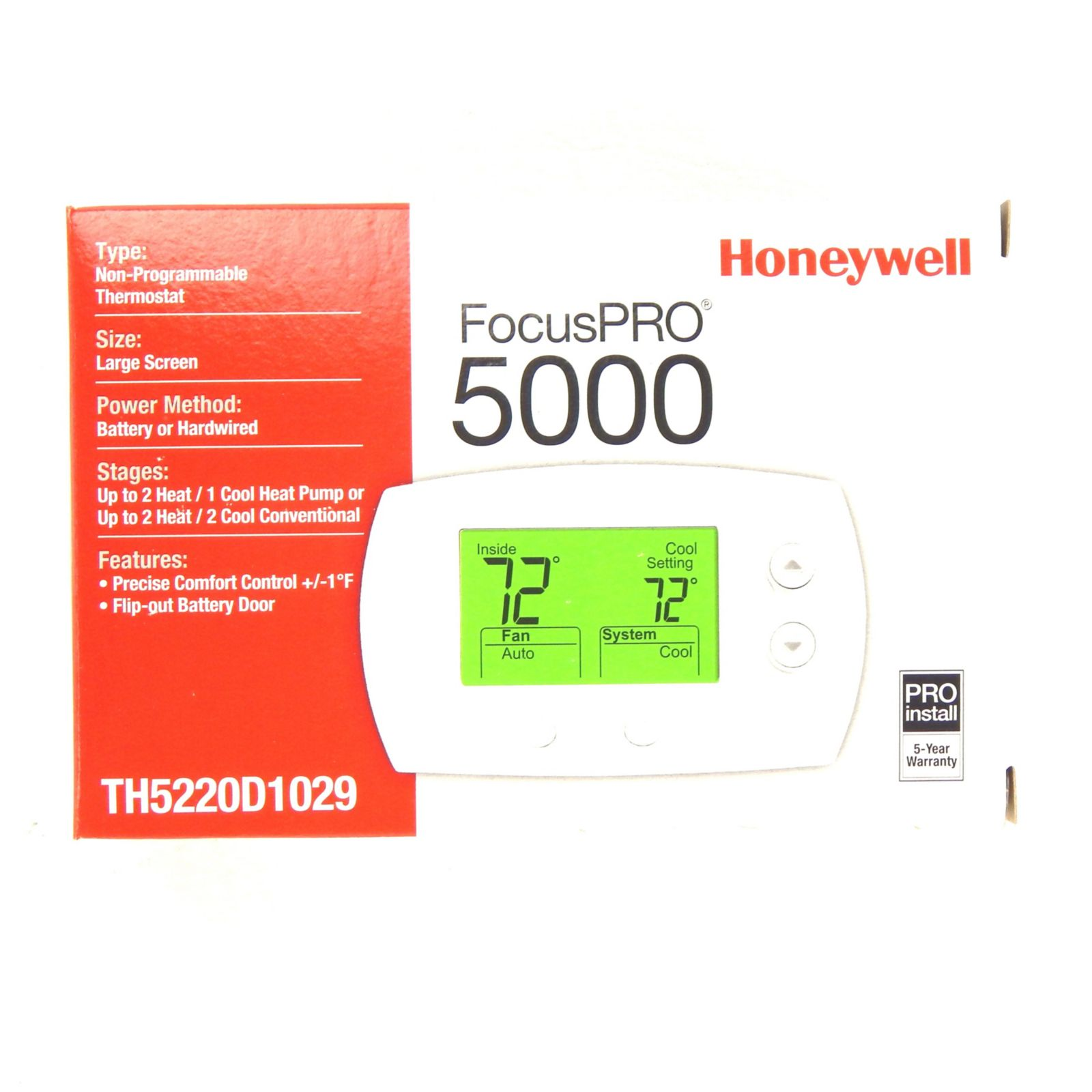 Honeywell TH5220D1029 Heating and Cooling Thermostat FocusPro 5000 Control