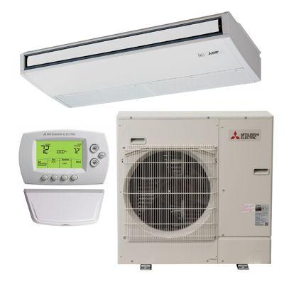 Mitsubishi (AHRI 10049784) 2 Ton, 21.2 SEER, P Series PUZA24NH/PCAA24KA  Single Zone Ductless Heat Pump Suspended System     12080799466006088