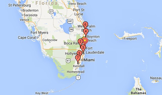 Map of branches in Florida