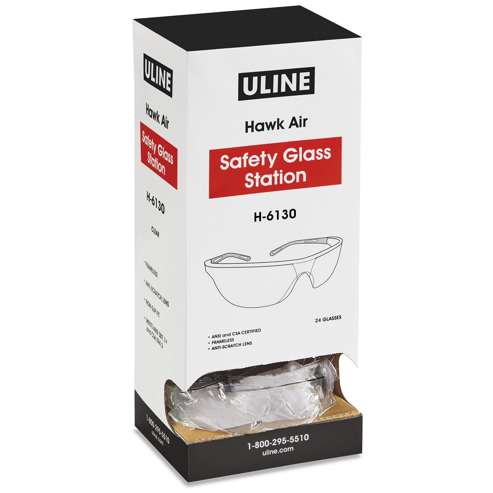 U-Line H-6130 - Safety Glasses, Clear Lens Color, In A Convenient